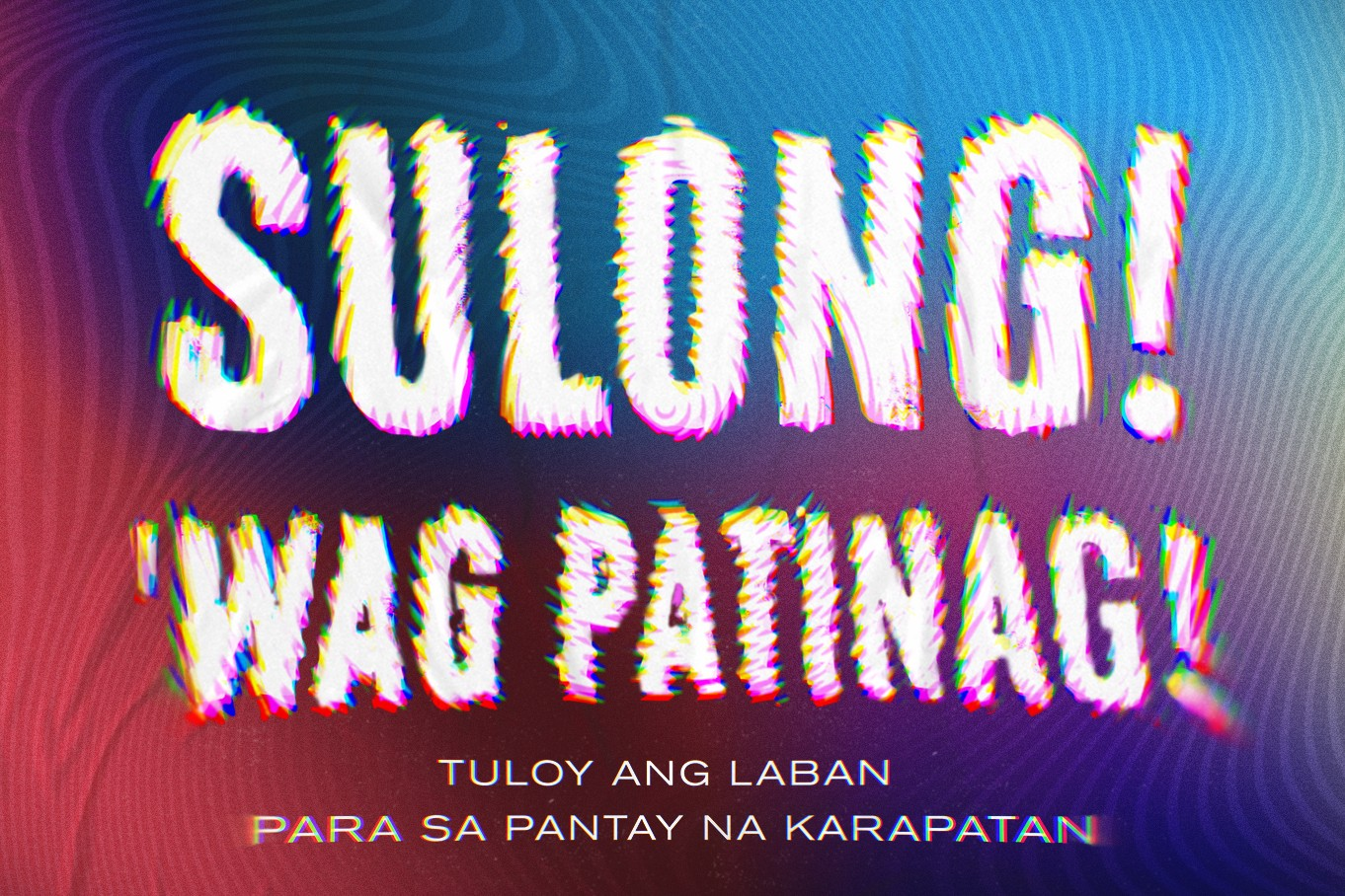 Image: A wide banner with vivid waves of red, blue, purple, yellow. Large text in the center reads