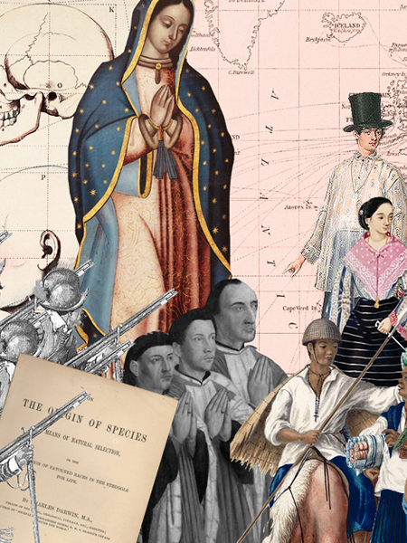 Image description: A collage of various elements from Philippine and world history. The background is a sepia map of the world. To the left is an image of the Our Lady of Guadalupe with her hands together. Under her are the Gomburza priests with their hands together too. To their right are peasant farmers and goods sellers. On top of them are the old bourgeosie. To the left of Gomburza are Spanish civil guards, and in front of them is a page of the book The Origin of Species.