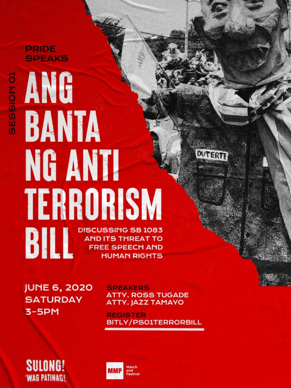 Image: A poster in red with a frayed black and white photo of a Duterte effigy with sharp teeth. The poster reads