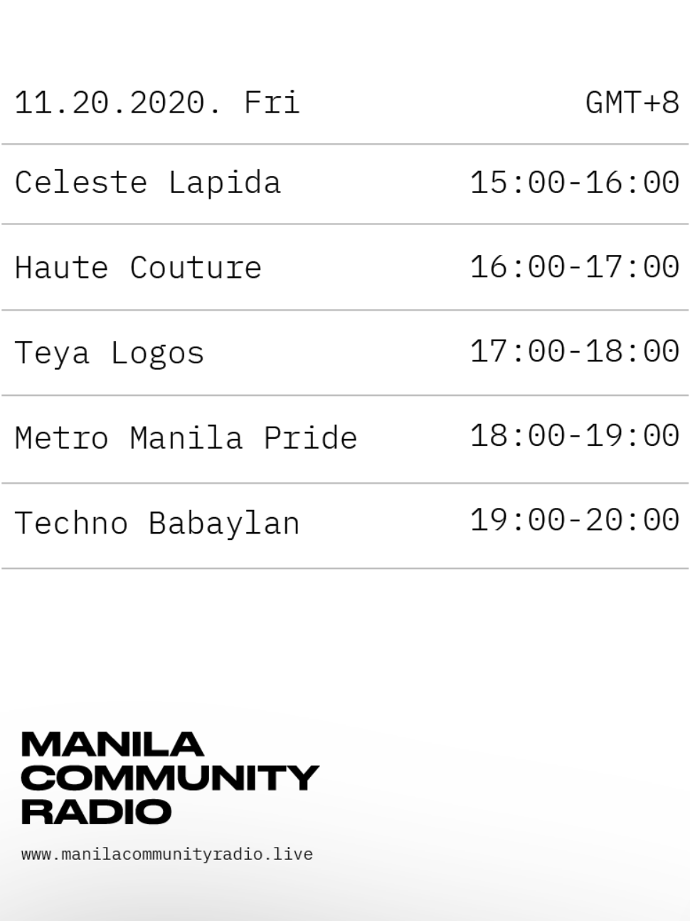 A poster of Manila Community Radio's schedule for November 11, 2020, featuring Metro Manila Pride at 18:00 - 19:00.