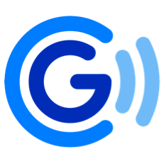 GCash logo - a dark blue G in the middle, with a lighter blue crescent halo to the left side and two even lighter cresent halos on the right side